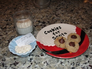 Cookies and milk for Santa and oatmeal for the reindeer.