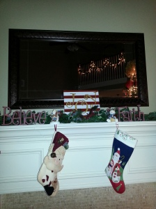I might do this again and make it bigger next year since it seems so dwarfed on our mantle.